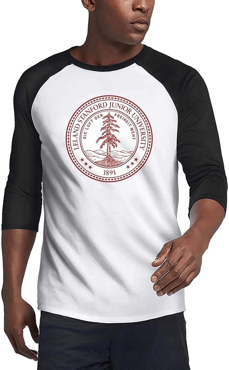 3//4 Sleeve Raglan Shirt Athletic Baseball Jersey Defoliate Mens Stanford-University-s