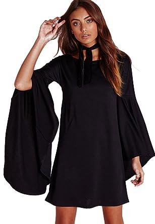 c95e0f6913 VIVICASLTE Women s USA Long Flare Bell Sleeve Blouse Mini Dress at ...