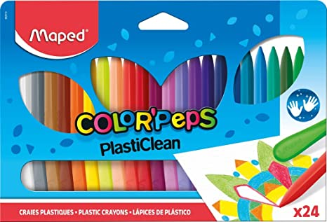 Maped ColorPeps Plasticlean Plastic Crayons, Assorted Colors, Pack of 24 (862013)