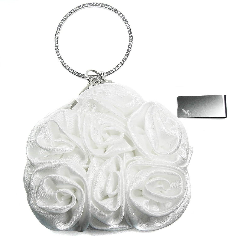 Missy K Rose Clutch Purse, Satin, with Circle Handle - White + kilofly Money Clip