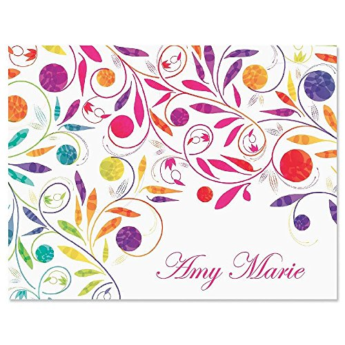 Color Swirl Personalized Note Card Set - 24 cards with envelopes