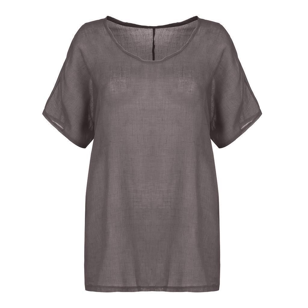 SSUPLYMY Damen T-Shirt Kurzarm V-Ausschnitt Sommer Tops Solide Oberteile Damen Elegant Kurzarm T-Shirt Freizeit Oberteil Lose Tunika Hemd Leinen Einfarbig Kurzarmshirt Tops