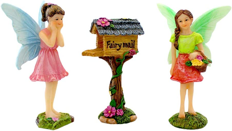 NW Wholesaler Fairy Garden 3 Piece Set - Fairy Garden Kit for All Ages - Perfect Addition to Your Fairy Garden (2 Faires-Mailbox)