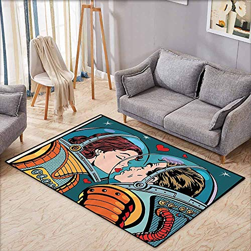 Bathroom Rug Bath Rug Anime Love Space Man and Woman Astronauts Kissing Science Cosmos Fantasy Couple Pop Art Style Artful Print Multi Super Absorbent mud W4'9 xL3'9
