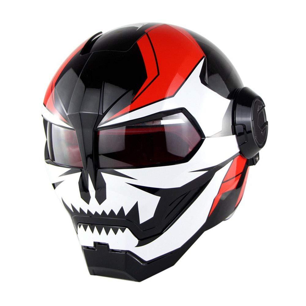 オートバイヘルメット d. o. T 認定モトクロスフルフェイスカスコモトフリップオープンマスクヘルメット,B,M Medium B B07PRQGWN3