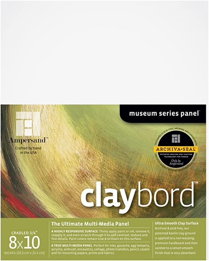 8X10 Inch 1//8 Inch Depth AMHB08 Ampersand Museum Series Hardbord for Painting and Mounting