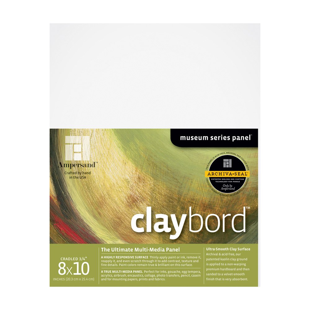 Ampersand Museum Series Claybord Panels for Paint and Ink, 3/4 Inch Depth Cradled, 8X10 Inch (CBSC08) by Ampersand
