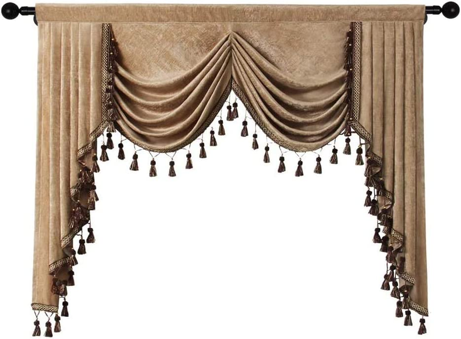 Grey Chenille Curtains Valance for Living Room Window Waterfall Valance for Kitchen, Rod Pocket (COFFCE, 59'')