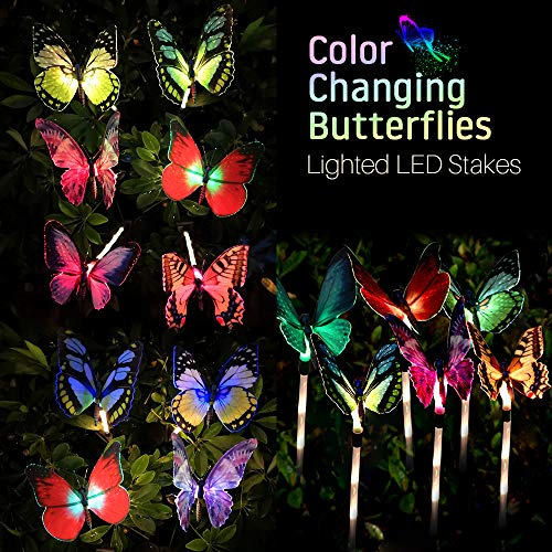 TekHome Solar Lights Outdoor Decorative, 3-Pack Color Changing Butterfly Garden Decorations Outdoor, Housewarming Gifts for Women, Outside Solar Fairy Lights, Solar Powered Garden Yard Art Ornaments.