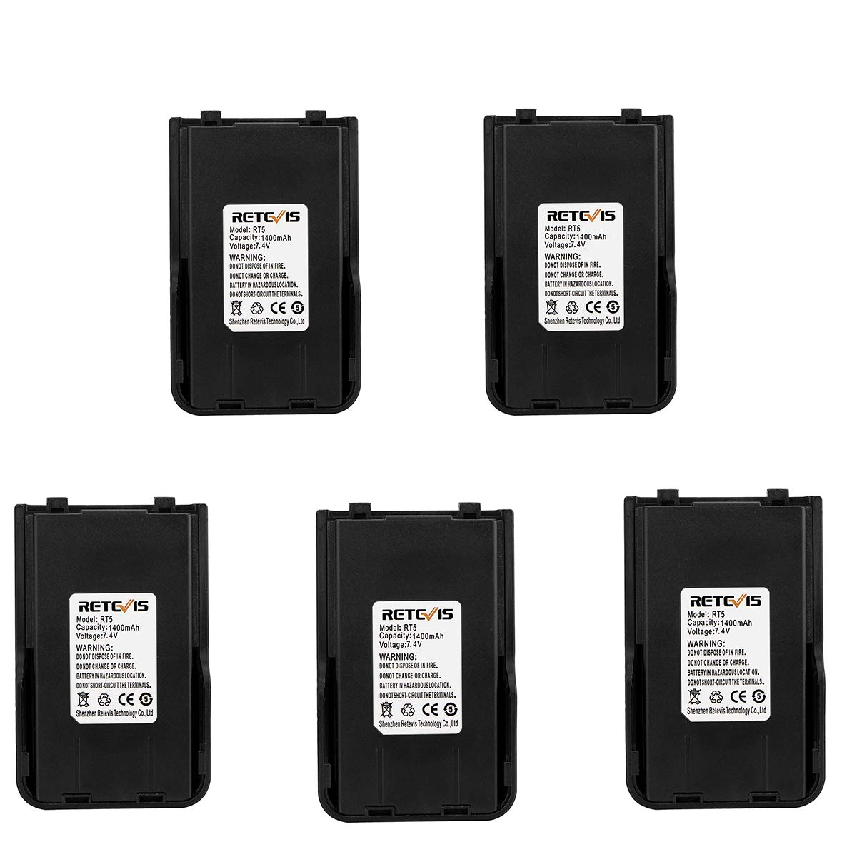 Retevis Two-way Radio Battery 1400mAH Replacement Rechargeable Battery Compatible Retevis RT5 Walkie Talkies (5 Pack)