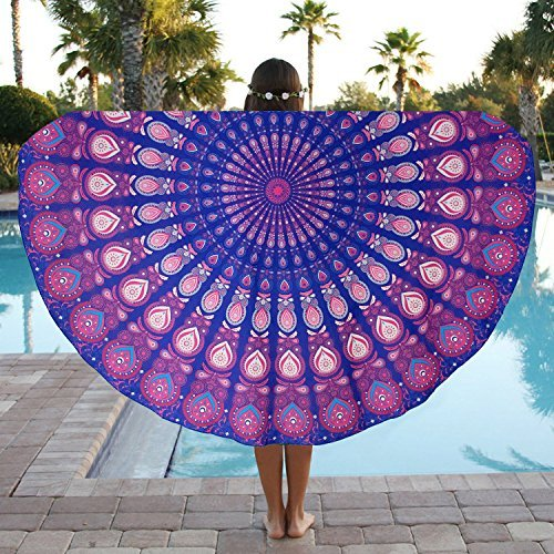 FUNCYboo Round Beach Towel Large Lightweight THIN Indian Mandala Beach Throw Blanket Sunscreen Shawl&Picnic Mat&Yoga Mat&Retro Tapestry&Round Tablecloth,Polyester 59inch across(purple peacok)