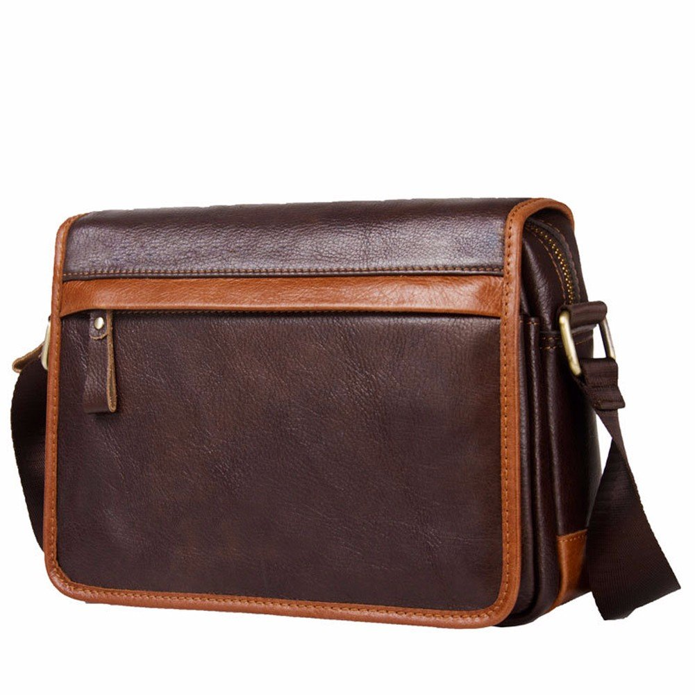 NHGY Leather shoulder bag, horizontal men's satchel, soft cover, casual fashion male bag, 12 inch brown color.