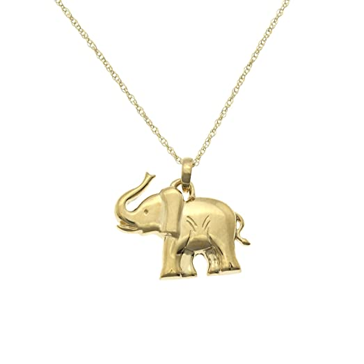 Amazon jewelexclusive 10k yellow gold elephant pendant necklace jewelexclusive 10k yellow gold elephant pendant necklace 18quot aloadofball Gallery