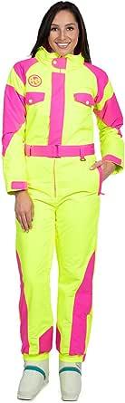 Tipsy Elves Women's Neon Yellow Powder Blaster Ski Suit - Retro Snowsuit for Female