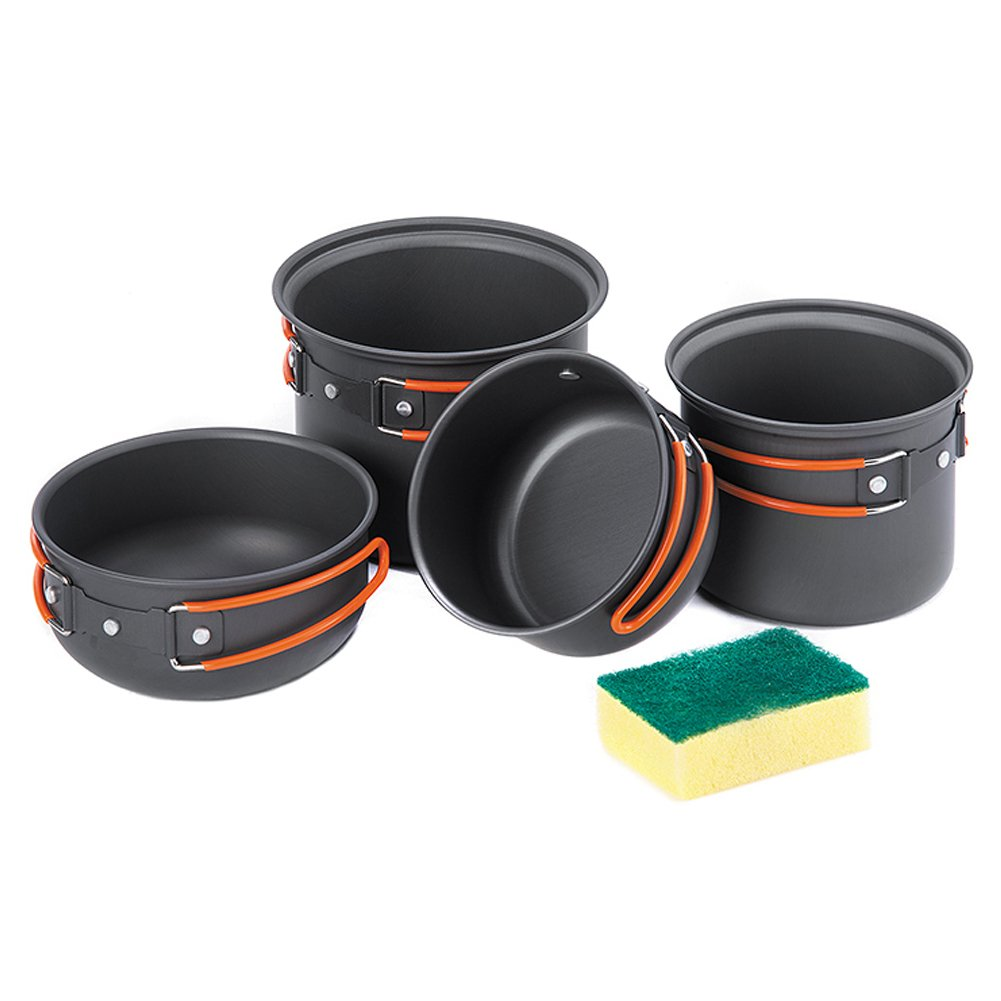 Tentock Portable Cookware Backpacking Cooking Kit Aluminum Bowl Pot Pan Set for Camping Hiking Backpacking Travelling