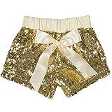 Cilucu Girls Shorts Toddler Sequin Shorts Sparkles on Both Sides Gold 4T