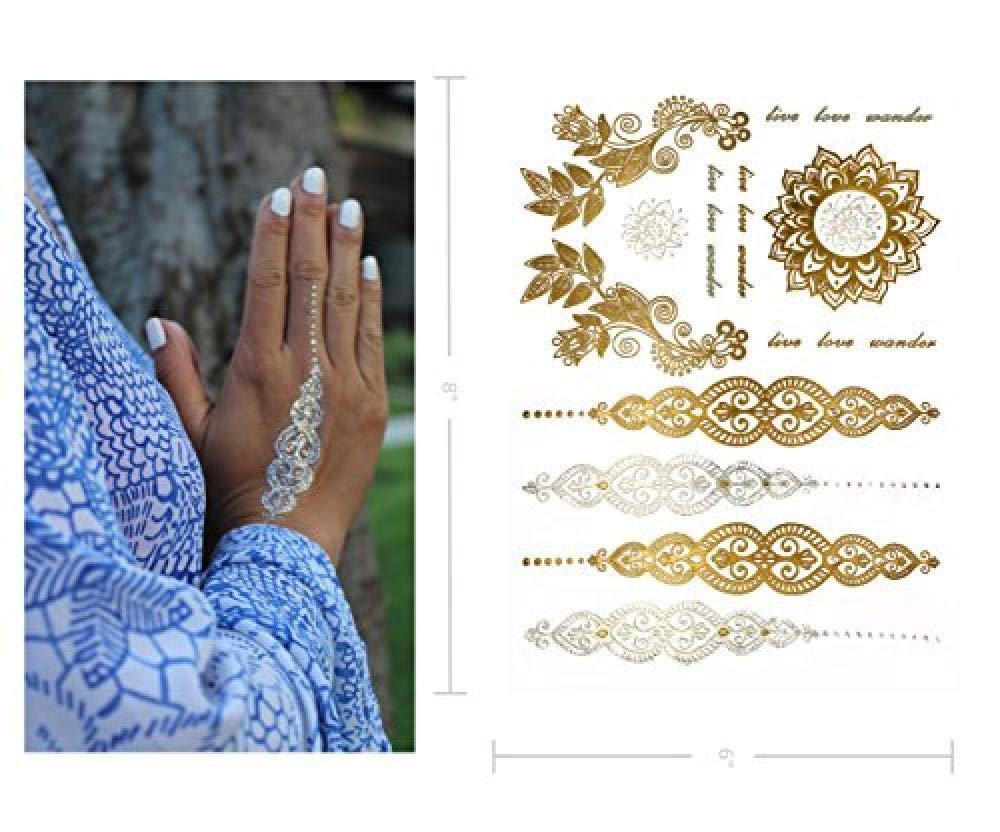 Tatuajes Temporales Boho Metálicos - Más De 75 Diseños De Mandala ...