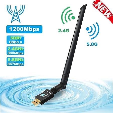 LittleBaby USB WiFi Adaptador Receptor WiFi, 1200Mbps Antena ...