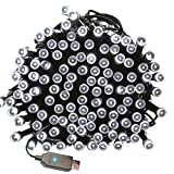Indoor/Outdoor String Lights with 8 Flash Changing Modes USB Power 39ft 100LED Wire lights Waterproof Fairy Twinkle Decorative Lights for Party/Christmas/Patio/Home (Cool White Include Power Adapter)