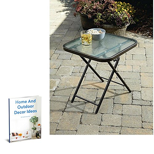 Patio Side End Table Lawn Garden Square Foldable Metal