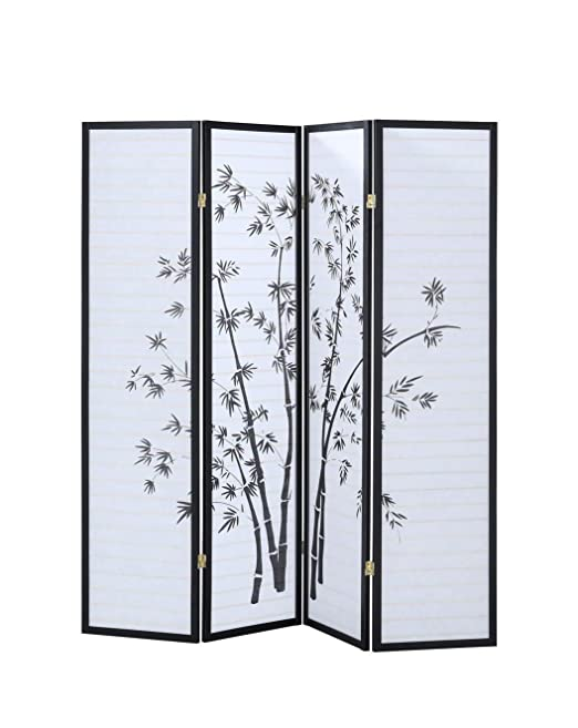 Cypress Shop Separador de habitación plegable estilo oriental japonés Shoji impresión bambú 4 Panel Privacidad tela de división espacio privado 68.5 pulgadas de ancho x 70 pulgadas de alto muebles de hogar: