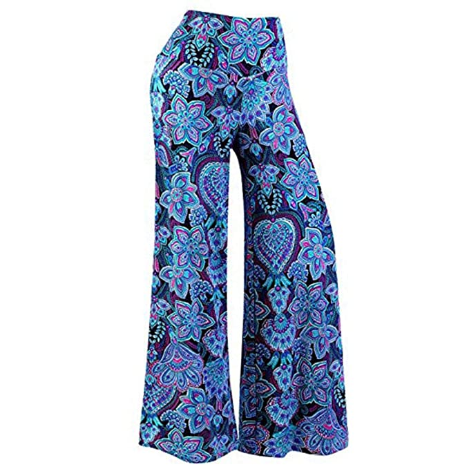 5c062fe9c0cd1 Sixcup Women Sexy Wide Leg Stretchy Boho Floral Printed Elastic Waistband  Mid-Waist Flare Pants Palazzo Bootleg Trousers  Amazon.co.uk  Clothing
