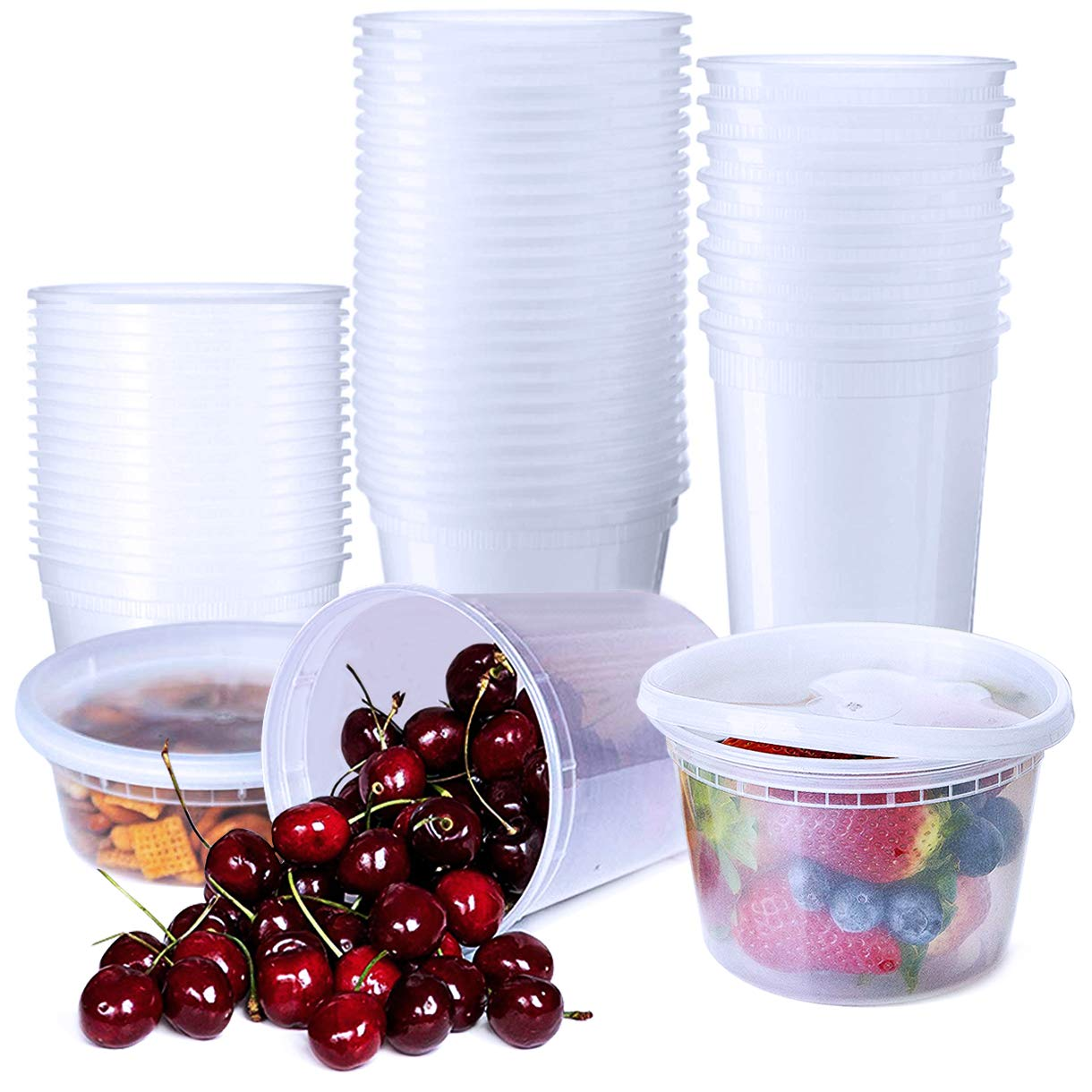 96 Pieces Food Storage Containers with Airtight Lids 8oz 16oz 32oz Plastic Restaurant Deli Cups Meal Prep Containers Freezer Containers by Hapree