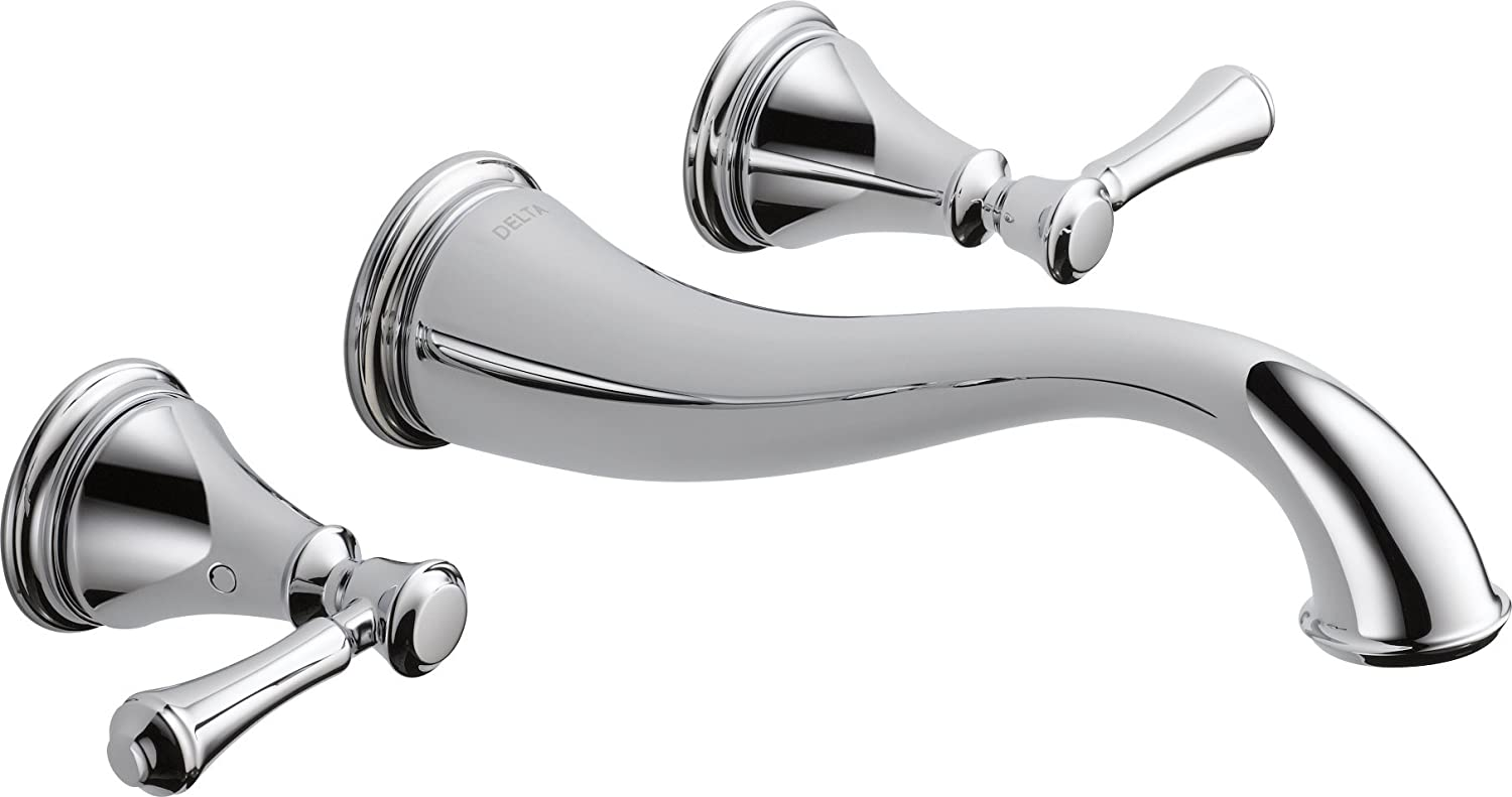 Delta Faucet T3597LF WL Cassidy Two Handle Wall Mount Bathroom Faucet Trim,  Chrome     Amazon.com