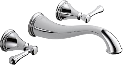 Delta Faucet T3597LF WL Cassidy Two Handle Wall Mount Bathroom Faucet Trim,  Chrome
