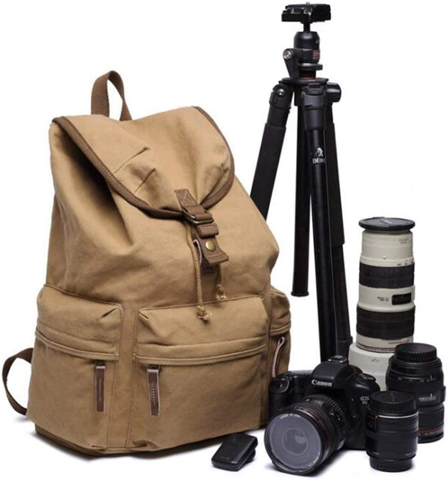 LILINSS Digital Camera Backpack Mens Large-Capacity Multi-Function Retro SLR Camera Outdoor Travel Multi-Purpose Backpack,ArmyGreen