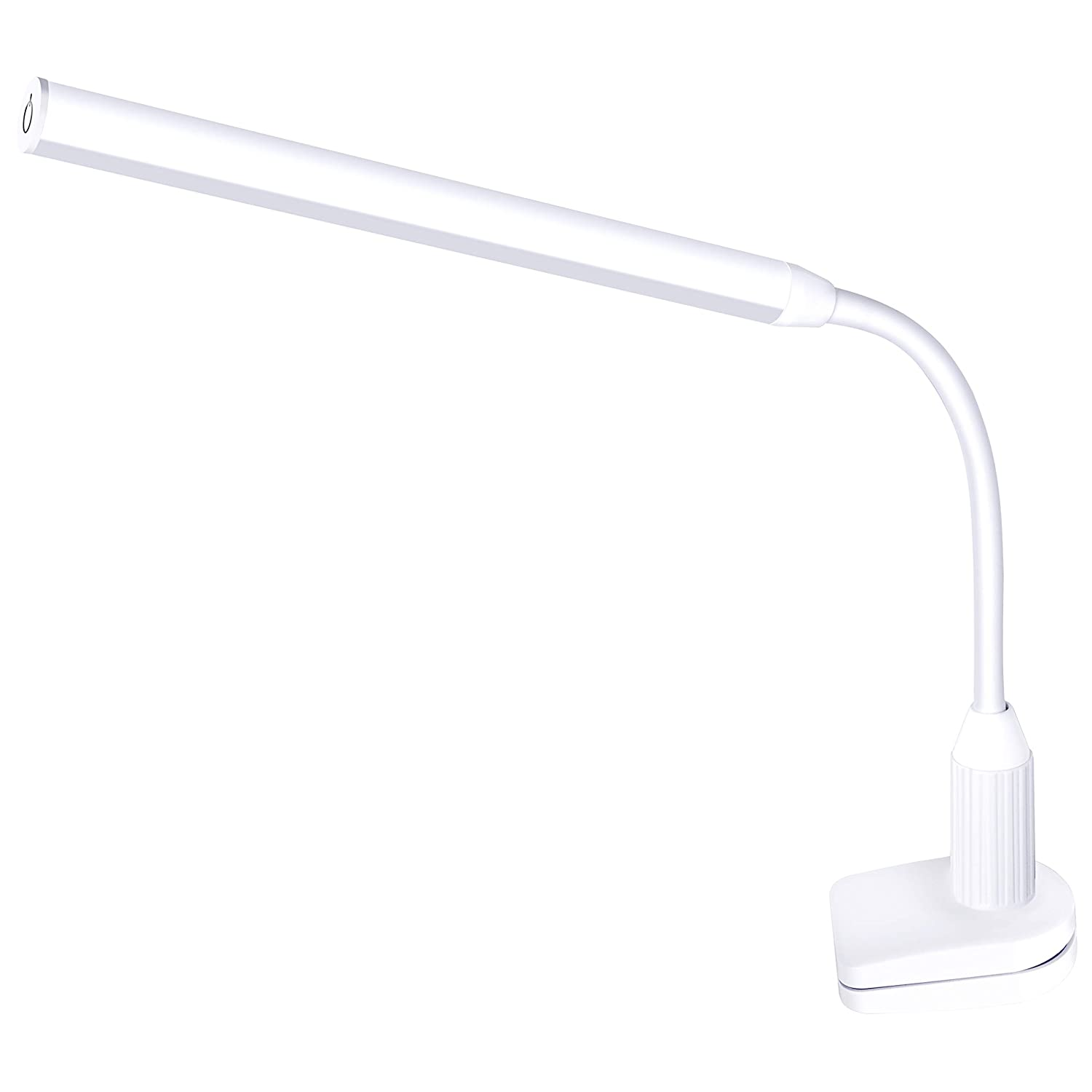 Amico LED Dimmable Flexible Gooseneck Clamp Desk Lamp 6W Eye-Care Touch Sensitive Light, Memory Function USB Charger