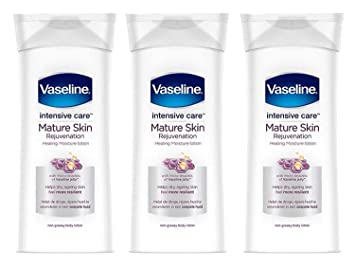 Amazon Com Vaseline Intensive Care Body Lotion Rejuvenates Mature Skin With Healing Moisture Lotion Immediate Transformation From Dry Skin To Healed And Moisturized Skin 13 5 Ounce Pack Of 3 Beauty