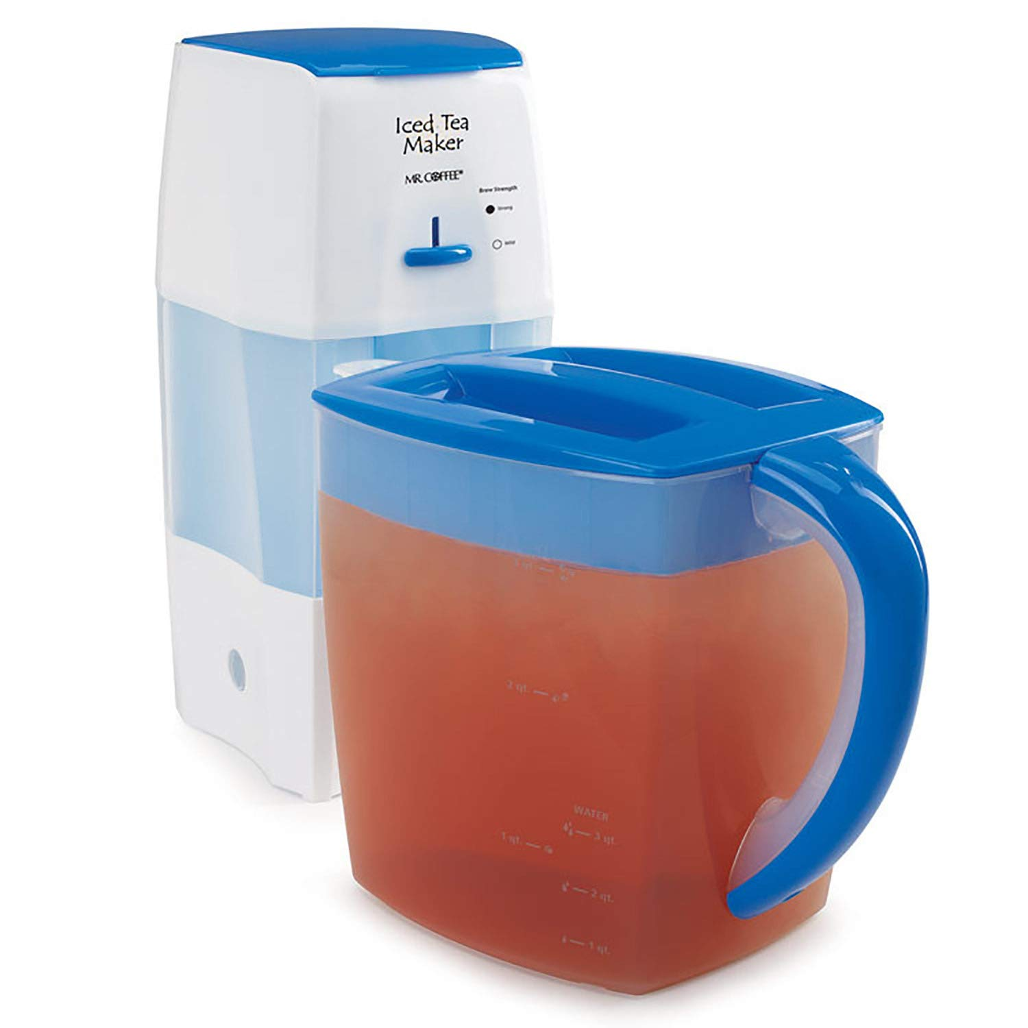 Mr. Coffee Iced Tea Maker 3 Quart with Brew Strength Selector (Blue) by Mr. Coffee