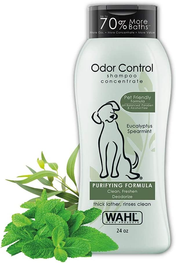 Wahl Odor Control Shampoo for Dogs & Pets - Eucalyptus & Spearmint Animal Deodorizer for Cleaning & Freshening – 24 Oz (820003A)