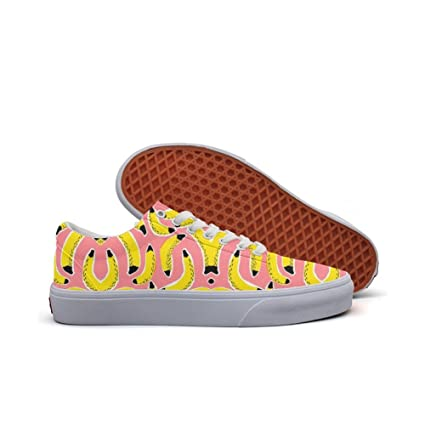 Womens Skateboarding Shoes Canvas Colorful Banana Pattern Sport Sneaker