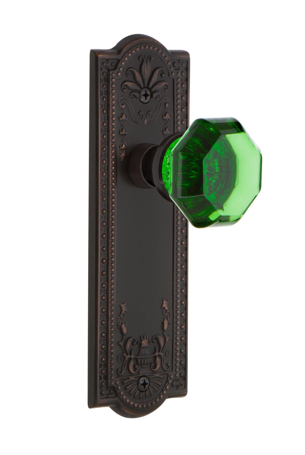 2.375 Nostalgic Warehouse 720728 Meadows Plate Passage Waldorf Emerald Door Knob in Polished Brass