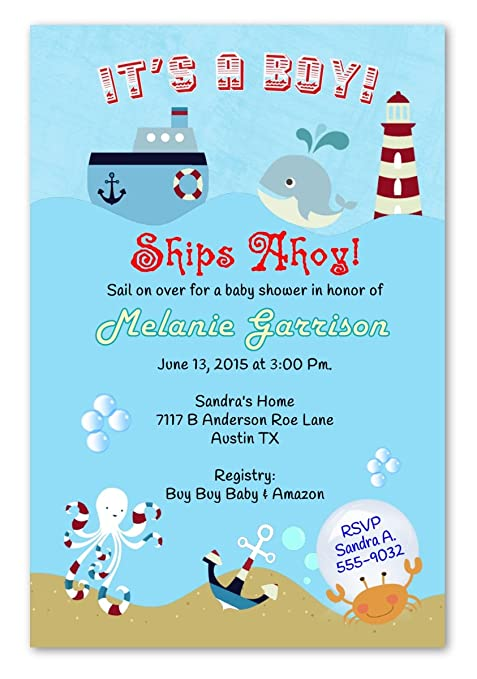 Amazon Whale Ships Ahoy Baby Shower Invitations Birthday Invitation Personalized 20 Count On 5x7 Heavy Cardstock Everything Else