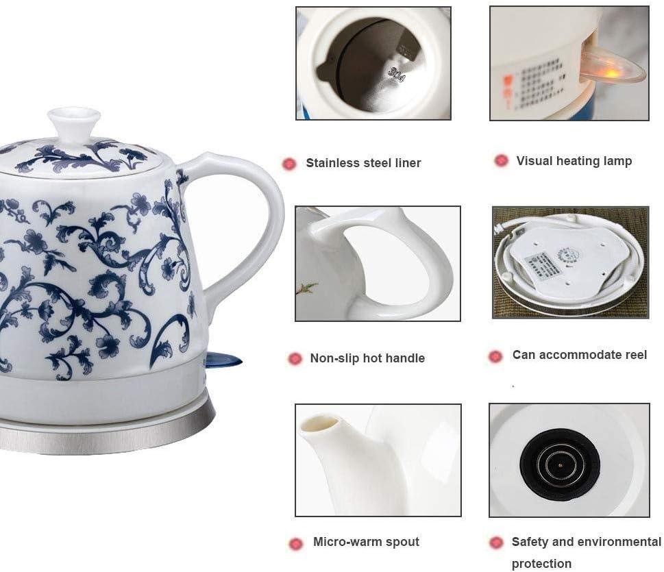HL-TD Ceramica Elettrico Cordless Bianco Bollitore Teiera-retrò 1.2L Brocca, 1000w Acqua Veloce For Tè, Caffè, Zuppa Riscaldamento (Color : A) A