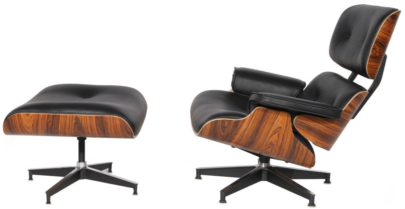 Mid Century Plywood Lounge Chair & Ottoman Eames Style Replica Real Premium Aniline Leather (Black Palisander) by Modern Sources