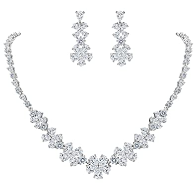 Clearine Women's Glamorous Bridal Love Heart CZ Flower Statement Necklace Dangle Earrings Set