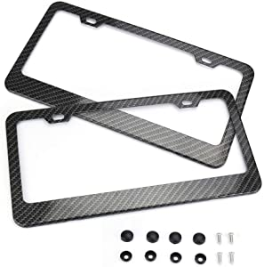 Carperipher 2 Pack License Plate Frame, Slim Aluminum Car License Plate Frames Fit for All US and Canada License Plates Accessories Kits, 2 Holes