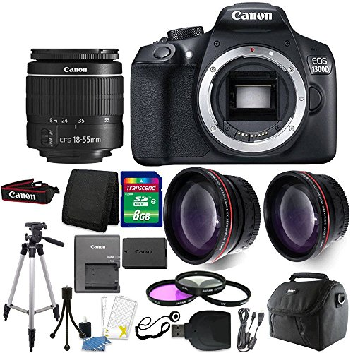 Cheap Canon EOS Rebel 1300D / T6 18MP DSLR Camera with 18-55mm EF-S f/3.5-5.6 IS III Lens + 8GB Accessory Kit