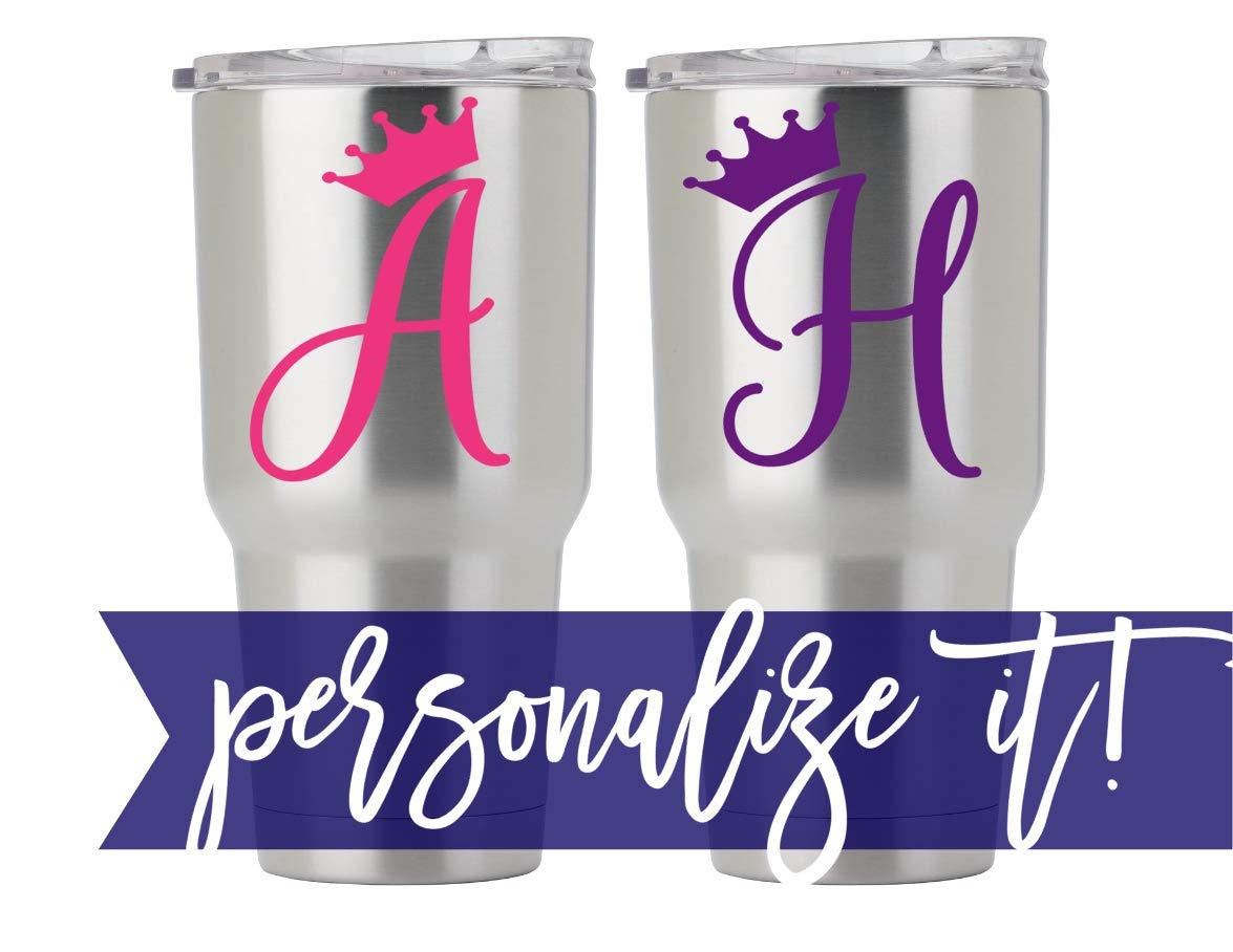 Letter Decal with Crown for Cup, Car, Planner, Laptop, Your Choice of Color & Style | Decals by ADavis by Decals by ADavis (Image #2)
