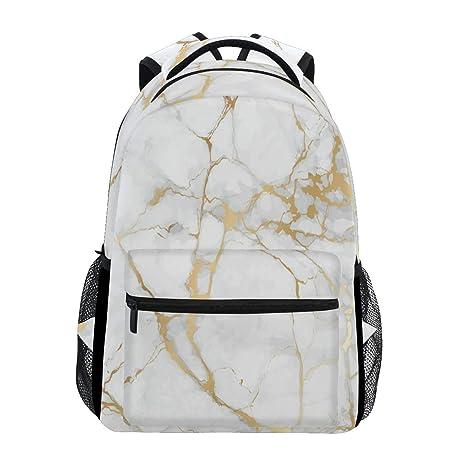 Mochila para ordenador portátil, color dorado y blanco con piedra de mármol, resistente al