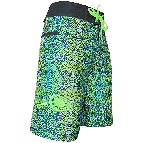 Tormenter Men's Tuna Waterman 8-Way Stretch Boardshorts, Mahi Skin, 38 (Designs Peacock Embroidery)