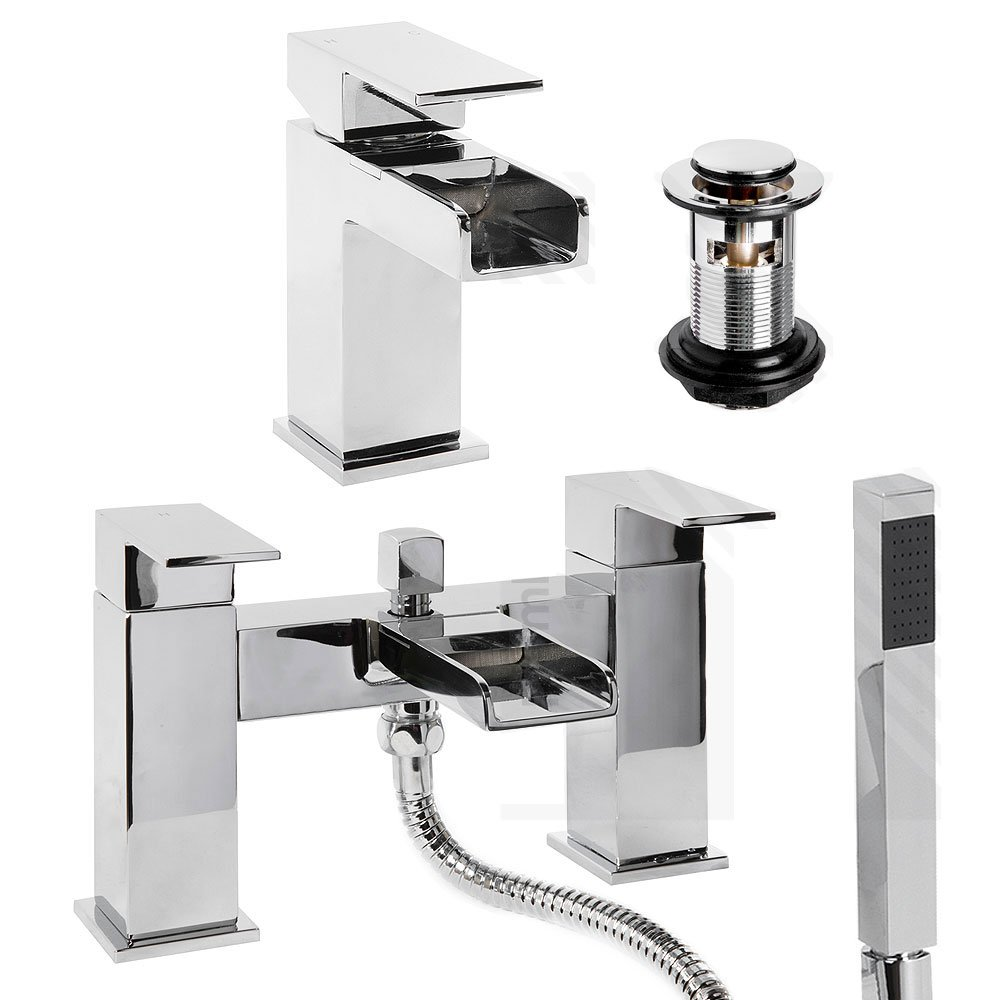 Cassellie Chrome Sqaure Cascade Waterfall Mono Basin & Bath Shower Mixer Tap inc Press Top Basin Waste DUK12