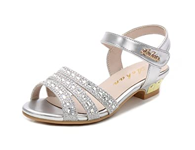 6540d6d74827 Always Pretty Little Girls Open Toe Pumps Toddler Girl Sandals Dress Shoes  Silver 9 M US