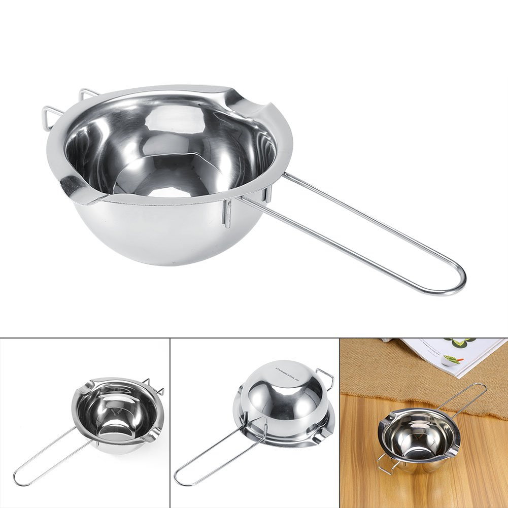 Double Boiler Pots, Stainless Steel Chocolate Butter Cheese Caramel Melting Pots Universal Insert Melting Pot-Double Boiler Insert Double Spouts Heat Resistant Handle Baking Tools