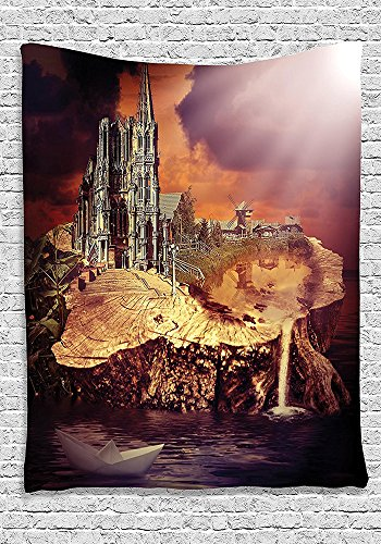 Gothic Decor Collection Fantasy Castle and Village on Stump in the Water Scary Sunset Medieval Fiction Design Bedroom Living Room Dorm Wall Hanging Tapestry Purple (Collection Halloween Movie Scary Village)