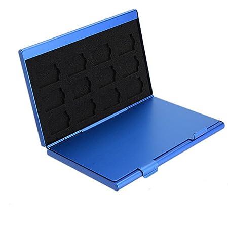 Caja de almacenamiento de aluminio de la tarjeta de memoria Caso de Protecter. 4x para tarjeta SD 8 x tarjeta micro SIM (Negro)